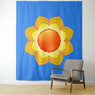 日曜日の青い黄橙色の壁のタペストリー タペストリー