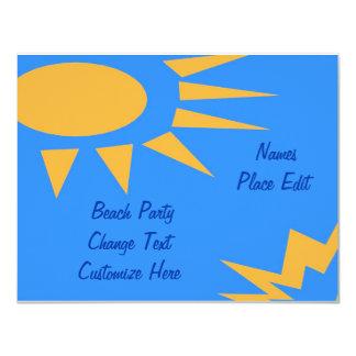 日曜日フレームのビーチのパーティー カード