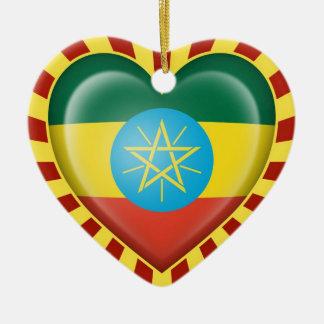 日曜日光線が付いているエチオピアのハートの旗 セラミックオーナメント