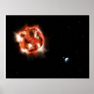 日曜日、地球および月ポスター ポスター