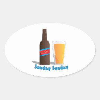 日曜日Funday 楕円形シール