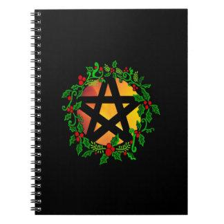 日曜日Yuletideの星形五角形のノート ノートブック