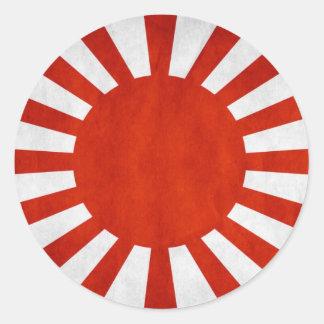 日本のでグランジな旗 ラウンドシール
