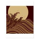 日本ので伝統的な波および月パターン ポストカード