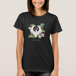 日本ので幸運な記号はエレガントな黒を冷却します Tシャツ