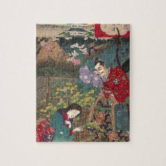 日本ので美しい芸者の武士の芸術 ジグソーパズル