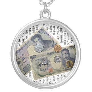 日本のなお金のデザインの円形の銀製のネックレス シルバープレートネックレス