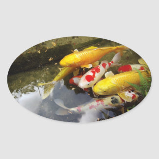 日本のなコイのコイの十分の水路 楕円形シール