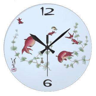 日本のなコイのファインアートの時計 ラージ壁時計