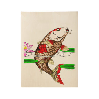 日本のなコイの魚のコイのスイレン ウッドポスター