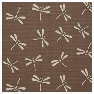 日本のなトンボパターン、クリームおよび暗灰色タン ファブリック