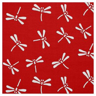 日本のなトンボパターン、深紅および白い ファブリック