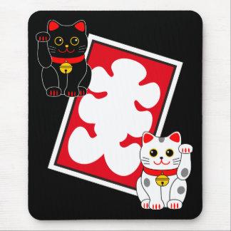 日本のなフルハウスの印及び招く猫 マウスパッド