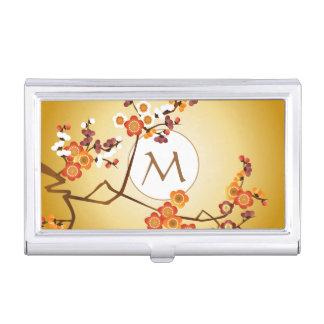 日本のなプラムは枝月の金ゴールドのオレンジ赤の開きます 名刺入れ