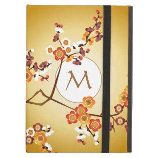 日本のなプラムは枝月の金ゴールドのオレンジ赤の開きます iPad AIRケース