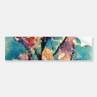 日本のなマグノリアの水彩画のろうけつ染め バンパーステッカー