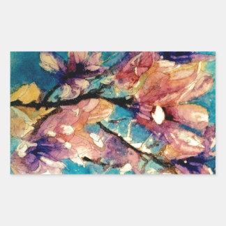 日本のなマグノリアの水彩画のろうけつ染め 長方形シール