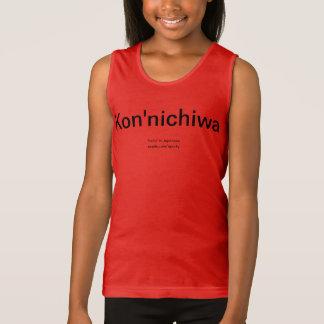 """日本のなワイシャツのKon'nichiwa """"こんにちは"""" タンクトップ"""