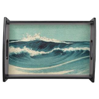 日本のなヴィンテージの波のトレイ トレー