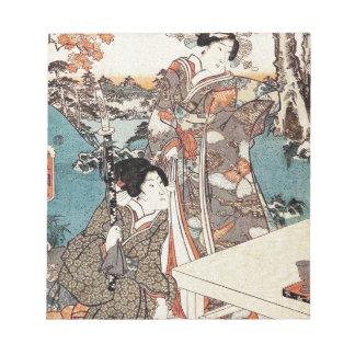 日本のなヴィンテージのukiyo-eの芸者の古いスクロール ノートパッド