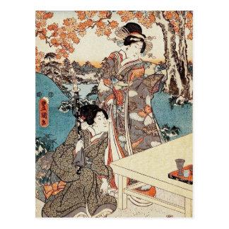 日本のなヴィンテージのukiyo-eの芸者の古いスクロール ポストカード