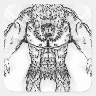 日本のな古代獣の入れ墨の芸術 スクエアシール