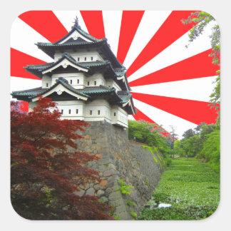 日本のな城 正方形シールステッカー