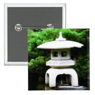 日本のな塔のランタンのスタイルの庭の彫像 5.1CM 正方形バッジ