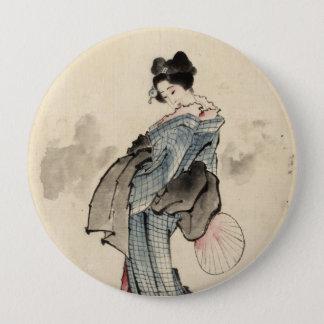 日本のな女性ボタン 10.2CM 丸型バッジ