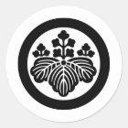 日本のな家紋KAMONの記号 ラウンドシール
