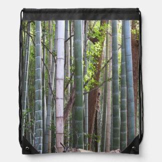 日本のな巨大なタケの森林、Sagano、京都、日本 ナップサック