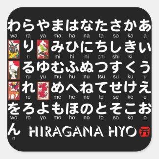 日本のな平仮名(アルファベット)のテーブル 正方形シールステッカー