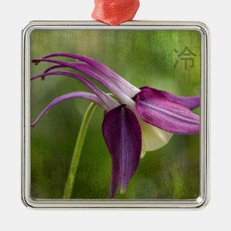 日本のな平静の記号およびオダマキ(植物)の花 メタルオーナメント