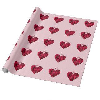 日本のな愛赤いハートのバラの覆いの紙 ラッピングペーパー