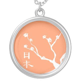 日本のな桜の木のネックレス シルバープレートネックレス