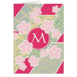 日本のな桜の桜幾何学的なパターン カード