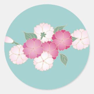 日本のな桜 丸形シール・ステッカー