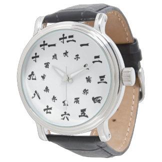 日本のな漢字の(占星術の)十二宮図の腕時計の白 腕時計