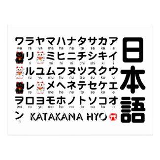 日本のな片仮名(アルファベット)のテーブル はがき