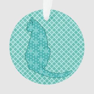 日本のな猫-ターコイズの着物のプリント オーナメント