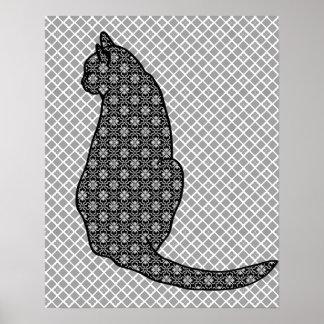 日本のな猫-白黒着物のプリント ポスター