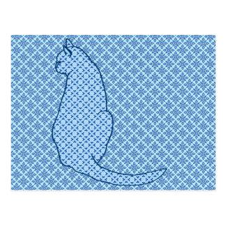 日本のな猫-青い着物のプリント ポストカード