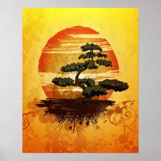 日本のな盆栽の木の日没 ポスター