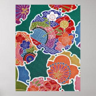 日本のな着物の織物、小花パターン ポスター