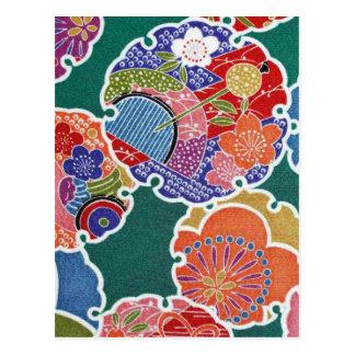 日本のな着物の織物、小花パターン ポストカード