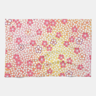 日本のな着物の織物、桜パターン キッチンタオル