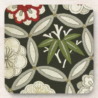 日本のな着物の織物、花パターン コースター