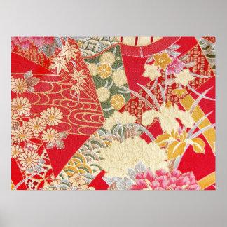 日本のな着物の織物、花パターン ポスター