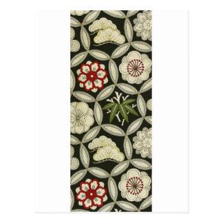 日本のな着物の織物、花パターン ポストカード
