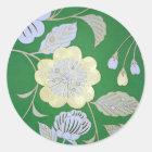 日本のな着物の織物、花パターン ラウンドシール
